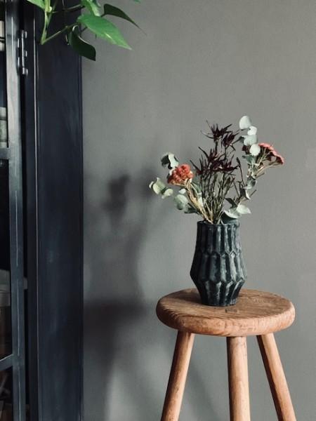 Vase Glas handmade dark green